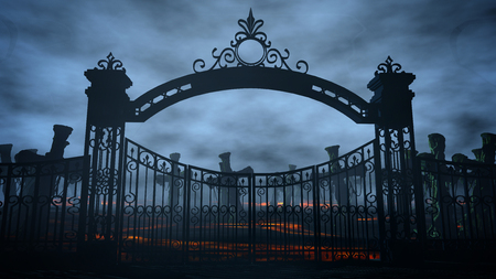 Horror night cemetery, grave. Moonlight . halloween concept 3d rendering