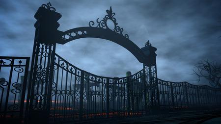cimetière de nuit d'horreur, tombe. Clair de lune . Halloween 3d concept rendu Banque d'images