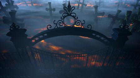 恐怖の夜墓地、墓。月光。ハロウィーンの概念 3 d レンダリング