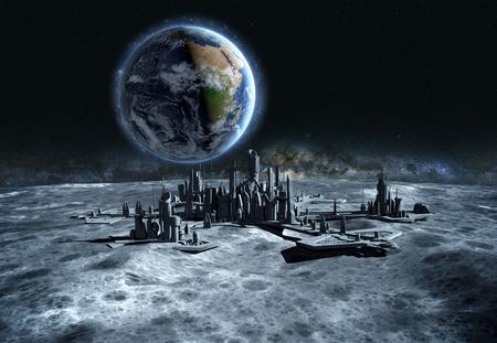 futuristische stad, basis, de stad op de maan. De ruimte oog van de planeet aarde. expeditie. 3D-rendering. Stockfoto