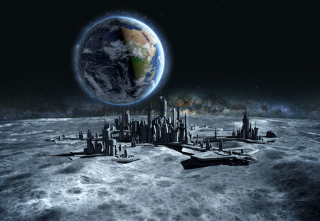 ville futuriste, la base, la ville sur la lune. La vue de l'espace de la planète terre. expédition. rendu 3d.