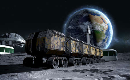 barren: Moon rover on the moon. space expedition. moon surface. 3d rendering.