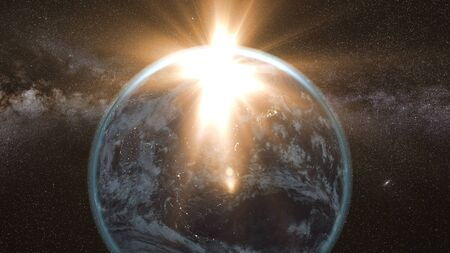 armageddon: flying asteroid, meteorite to Earth. outer space. Armageddon 3d rendering