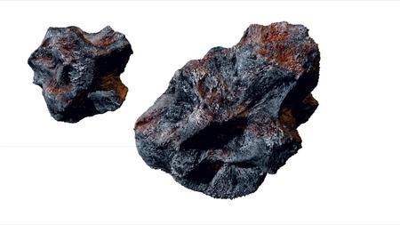 asteroide volar, meteoritos aislar la representación 3d Foto de archivo