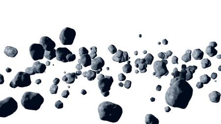 vliegende asteroïde, meteoriet isoleren 3D-rendering Stockfoto