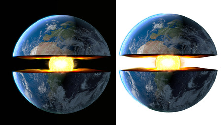 earth core: Earth core. inner structure with geological layers. 3d rendering.