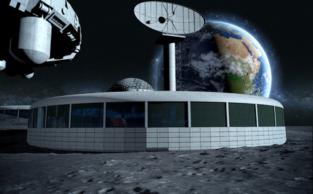 base: futuristic city, base, town on moon. The space view of the planet earth. expedition. 3d rendering.