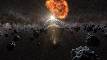 asteroid: flying asteroid, meteorite to Earth. outer space. Armageddon 3d rendering