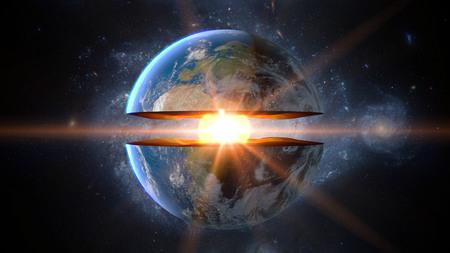 地球のコア。地層内部構造体です。3 d レンダリング。