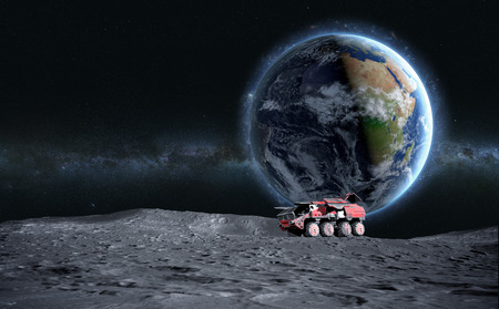 moon rover: Moon rover on the moon. space expedition. moon surface. 3d rendering.