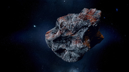 flying asteroid, meteorite to Earth. outer space. Armageddon 3d rendering