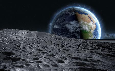 月面。惑星地球の空間ビュー。3 d レンダリング。 写真素材