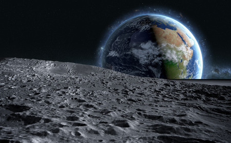 moon surface. The space view of the planet earth. 3d rendering. Banco de Imagens