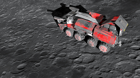lunar rover: Moon rover on the moon. space expedition. moon surface. 3d rendering.