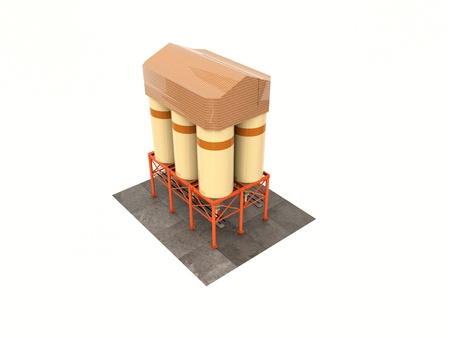 grain storage: tanks for the storage of grain granary. Silos construction. Isolate on white.