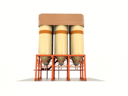 storage: tanks for the storage of grain granary. Silos construction. Isolate on white.
