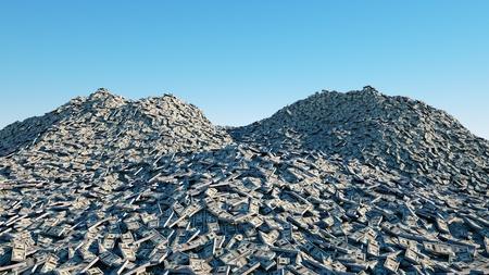 a lot of money. million dollar cash. dollar mountain. Financial concept. 3d rendering