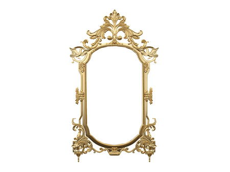 mirror: Golden vintage frame, mirror. Design retro element. physical realistic reflection . 3d rendering