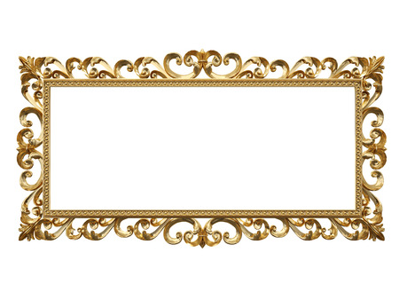 gilded: Golden vintage frame, mirror. Design retro element. physical realistic reflection . 3d rendering