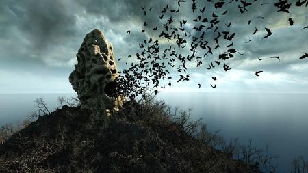 outcry: horror island in ocean. devilish screaming skull. Halloween concept. Hell Stock Photo