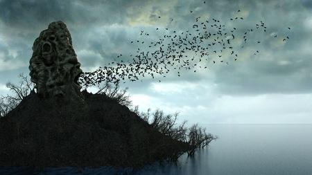 horror eiland in de oceaan. duivelse schreeuwen schedel. Het concept van Halloween. Hel