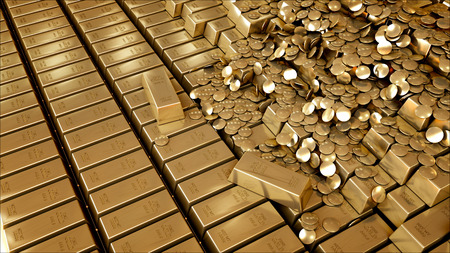 gold bars: Gold Bars 3D realistic rendering.