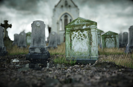 Scary old cemetery. Old church on grave. Halloween concept. 3d rendering.