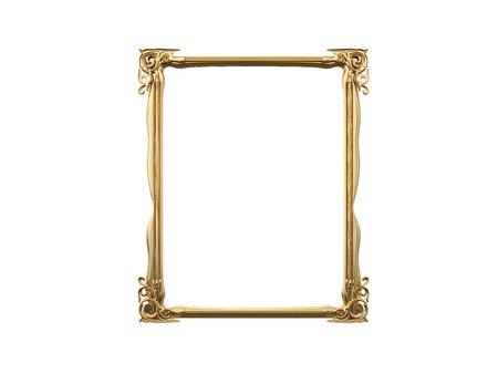 mirror frame: Golden vintage frame, mirror. Design retro element. physical realistic reflection . 3d rendering