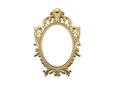golden frames: Golden vintage frame, mirror. Design retro element. physical realistic reflection . 3d rendering