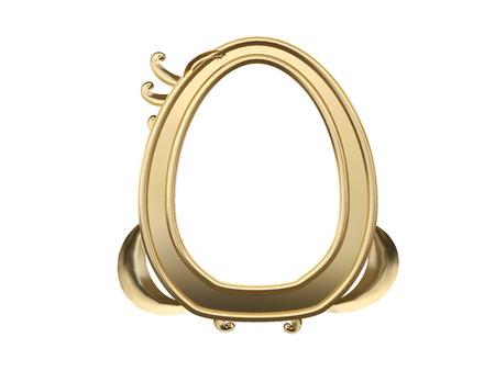 Golden vintage frame, mirror. Design retro element. physical realistic reflection . 3d rendering