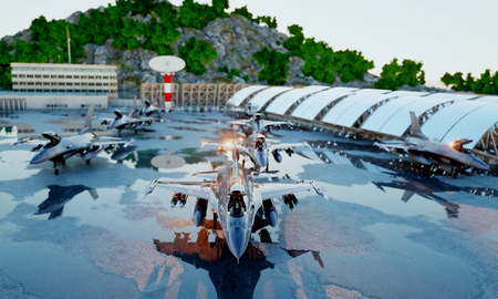 f 16 military fighter jet. military base. sunset. 3d rendering Stock Photo