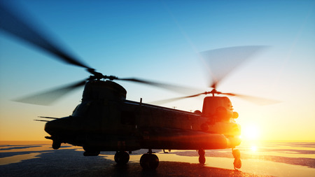 Military helicopter chinook, wonderfull sunset. 3d rendering