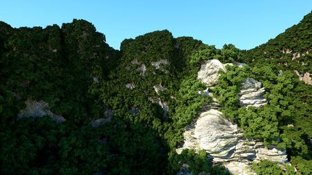 limestone: Mountain Cliffs with trees. Fantasy landscape. 3d rendering