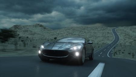 Black sport car on road, highway. Very fast driving. 3d rendering Stok Fotoğraf