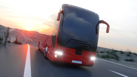 Toeristische rode bus op de snelweg. Snel rijden. Realistische 3D-weergave