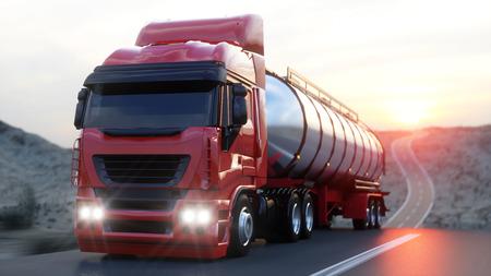 Benzin-Tanker, Öl Anhänger, LKW auf der Autobahn. Sehr schnelles Fahren. 3D-Rendering