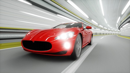 red sport car in a tunnel. fast driving. oil concept. 3d rendering