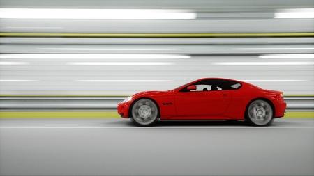 터널에 빨간 스포츠 차입니다. 빠른 운전. 석유 개념입니다. 3 차원 렌더링