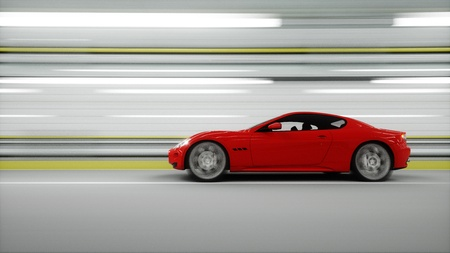 red sport car in a tunnel. fast driving. oil concept. 3d rendering Reklamní fotografie - 66518075