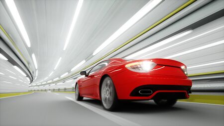 red sport car in a tunnel. fast driving. oil concept. 3d rendering Imagens - 66518093