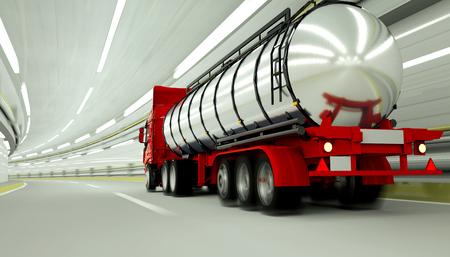 トンネル内の赤いガソリン タンカー。高速運転。油の概念。3 d レンダリング