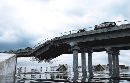 Apocalypse vue sur la mer. pont détruit. notion Armageddon. rendu 3d