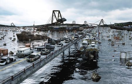 armageddon: Apocalypse sea view. Destroyed bridge. Armageddon concept. 3d rendering Stock Photo