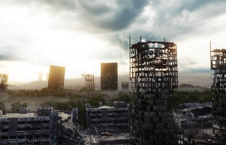 Apocalyps stad in de mist. Luchtfoto van de verwoeste stad. Apocalypse concept. 3D-rendering