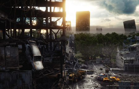 Apocalypse city in fog. Aerial View of the destroyed city. Apocalypse concept. 3d rendering