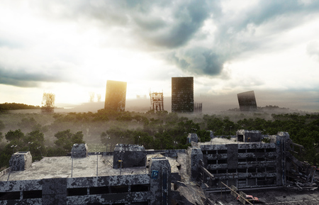 霧の黙示録都市。破壊された都市の眺め.黙示録のコンセプトです。3 d レンダリング