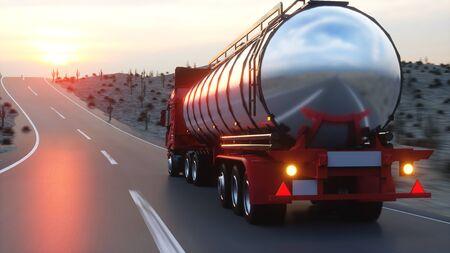 Benzine tanker, olie aanhangwagen, vrachtwagen op de snelweg. Zeer snel rijden. 3D-rendering
