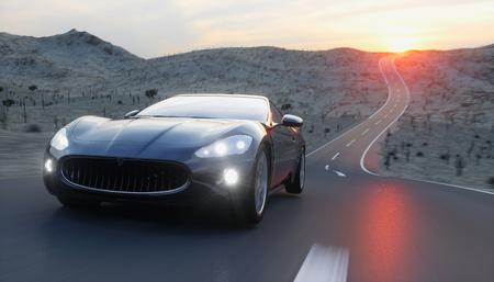 도, 고속도로에서 검은 스포츠 차입니다. 매우 빠른 운전. 3 차원 렌더링