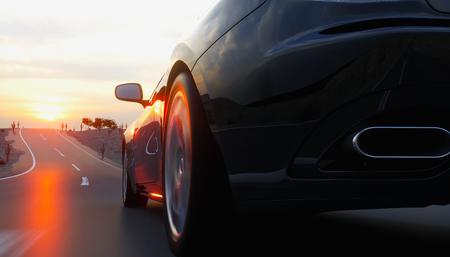 路上では、黒のスポーツ車の高速道路。非常に高速運転。3 d レンダリング