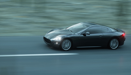 Black sport car on road, highway. Very fast driving. 3d rendering Foto de archivo